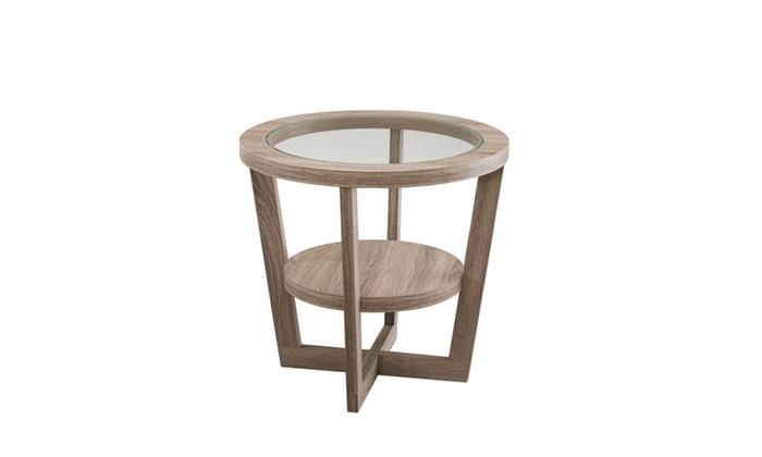 amely light oak glass top round end table groupon. Black Bedroom Furniture Sets. Home Design Ideas