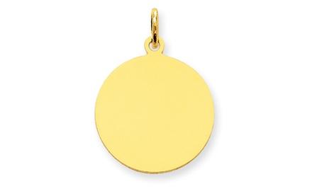 IceCarats Designer Jewelry 14k Plain .013 Gauge Circular Engravable Disc Charm