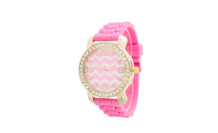 Geneva Women's Chevron Silicone Watch with Bling Bezel - Assorted Colors