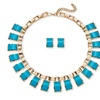 2 Piece Teal Jewelry Set in Yellow Gold Tone