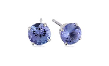 14k White Gold 1.2 Carats Round Natural Tanzanite Stud Earrings