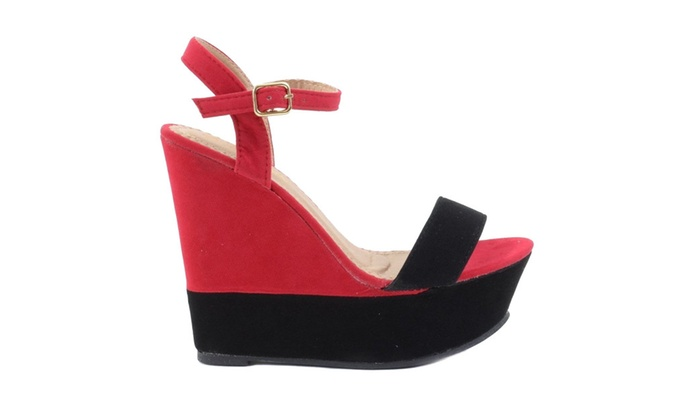 Purple Pink Black Open Toe Anklet Platform Vegan Wedge Sandal