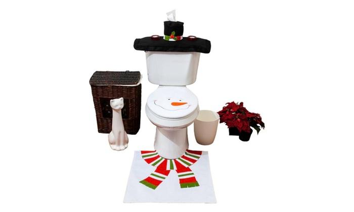 Tremendous Christmas White Snowman Bathroom Toilet Seat Cover Rug Set 4 Pcs Pabps2019 Chair Design Images Pabps2019Com