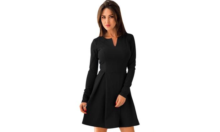 f22b2a316b Women s Black Red Long Sleeve V Neck Pleated Skater Dress