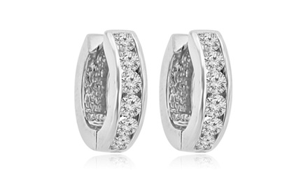 1.20 ct Ladies Round Cut Diamond Hoop Huggie Earrings In 14 Kt White Gold