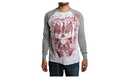 Aztec Eagle Long Sleeve Thermal White/Gray T-shirt