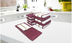 Chef Stripe Kitchen Towel and Dishcloth Set (14-Piece)