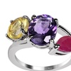 4.55 CTTW Genuine Amethyst, Ruby and Citrine St. Silver Ring