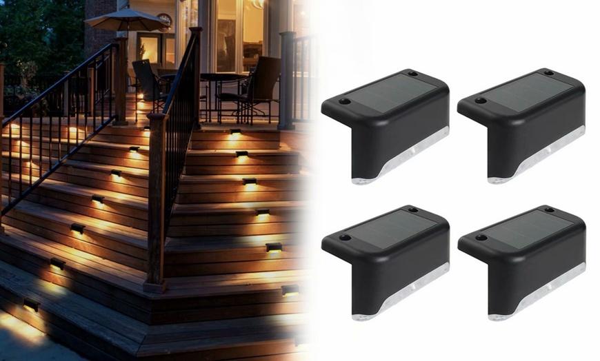 4 Pack Solar Deck Lights Led, Solar Outdoor Patio Deck Lights 48 Led