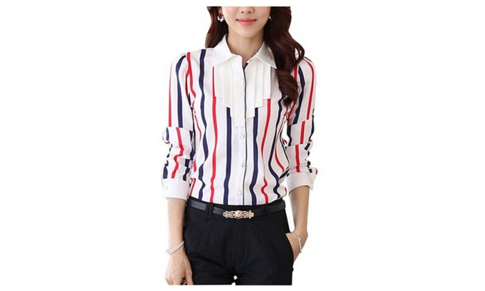 Women's Chiffon Slim Fit Printed Casual Shirt Long Sleeve Blouse