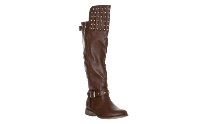Riverberry Women's 'Rider-23' Studded Buckle Riding Boots, Light Brown