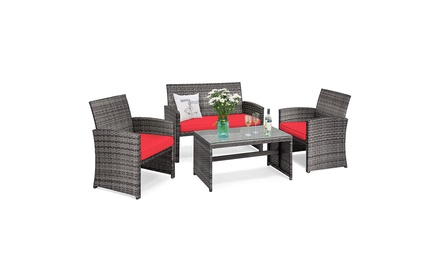 Costway 4PCS Patio Rattan Furniture Set Conversation Glass Table Top Cushioned