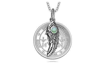 Archangel Zadkiel Sigil Amulet Magic Powers Angel Wing Charm Pendant Necklace