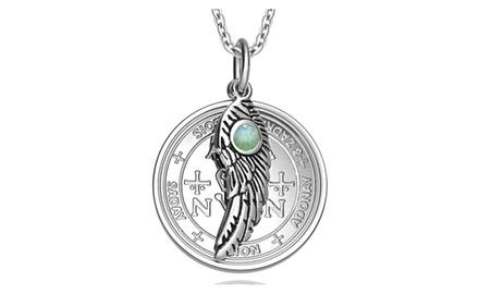 Archangel Zadkiel Sigil Amulet Magic Powers Angel Wing Charm Pendant Necklace