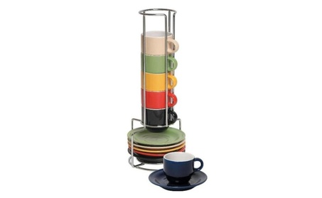 Espresso Cups & Saucers Set 13 Pc Colorful Stacking Espresso Mugs Set 34dc7361-bff7-4240-b235-bbac3a8ec70e