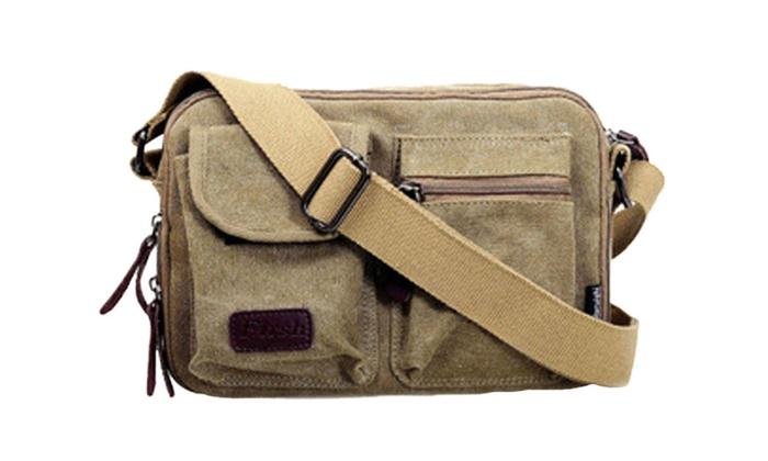 Men's Canvas Messenger Crossbody Bag