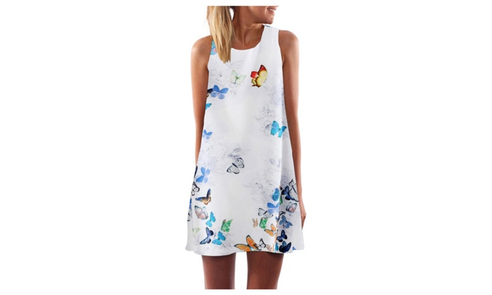 Summer Casual Loose O-Neck Sleeveless Print Beach Dresses