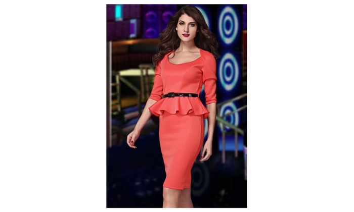 Women's Red Long Sleeve Belted Peplum Midi Dress