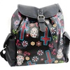 Sugar Skull Floral Cross Day of the Dad Vegan Leather Fashion Backpack