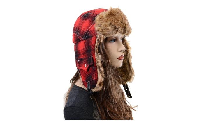 4e4e01a024c67 Red Plaid Super Furry Vegan Cold Weather Ushanka Unisex Trapper Hat ...