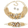 3-Piece Crystal and Bead Set in Gold Tone