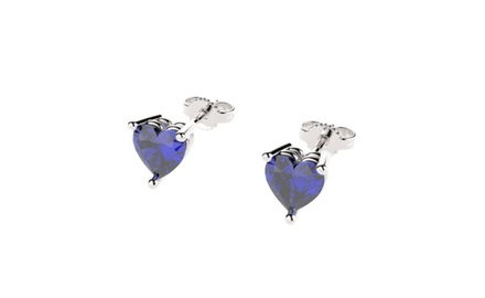 Sterling Silver Stud Earrings with Heart Cut Sapphires