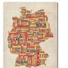 Michael Tompsett Germany Text Map II Canvas Print