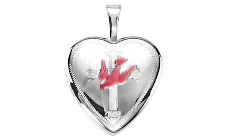 Sterling Silver Dove & Cross Heart Locket with Epoxy 1669f1c8-b58d-48f5-851d-d19dbc6cc556