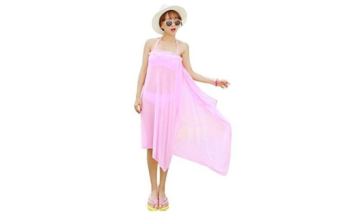 3PCS Bikini Top Bottom Cover Up Pareo Sarong Dress Beach Wear