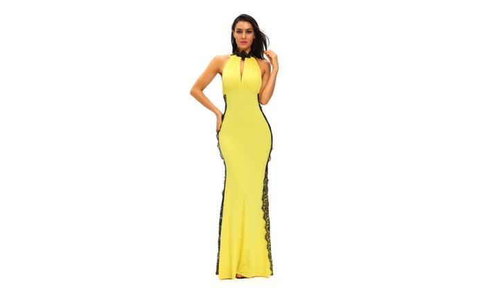 Women's Yellow Peekaboo Halterneck Lace Trim Party Gown