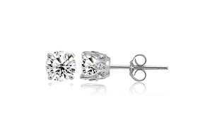 Created White Sapphire Crown Stud Earrings in 925 Sterling Silver