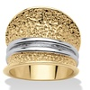 DISC- 18k Gold-Plated Two-Tone Hammered-Style Concave Dome Ring