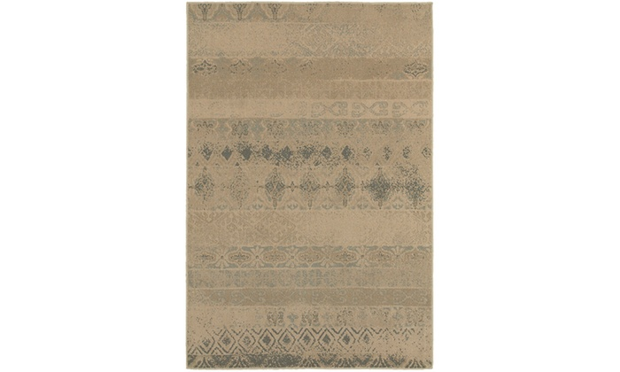 Monarch Alessa Tan Blue Distressed Area Rug Groupon