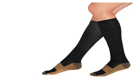 1 or 5 Pack of Breathable Fabric Leg Swelling Copper Compression Socks 8a62918a-a1c7-4505-a565-93c1c73a072a