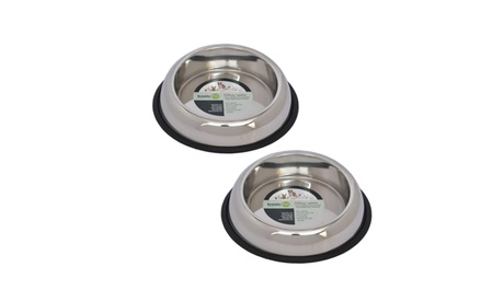 2 Pack Heavy-Weight Non-Skid High Back Bowl for Dog or Cats in Assorted Sizes 4a38e15d-ca68-4297-b9b4-6807b6fd669d