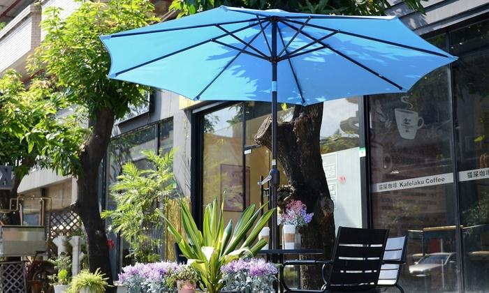 Villacera 9 Auto Tilt Outdoor Patio Umbrella With Aluminum Pole