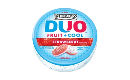 Ice Breakers Duo Fruit + Cool Mints, Strawberry, 1.3-Ounce Containers (Pack of 8)