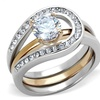 1 Ct Round Cut Two Toned Stainless Steel 2 Piece Wedding Ring Set