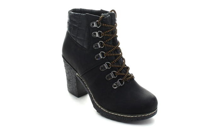 Nature Breeze Forest-02 Women's Chunky Combat Ankle Booties