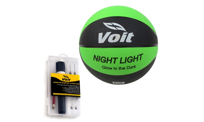 Voit Size 7 Rubber Basketball with Inflating Kit- Glow in the Dark