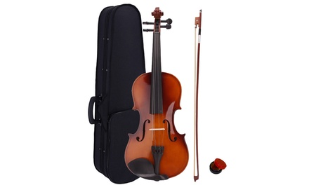 4/4 Christmas Gift Beginner School Wood Acoustic Violin and Case and Bow and Rosin Was: $35 Now: $24.99.