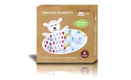 Baby Swaddle Blankets | Organic Muslin Cotton | Best Unisex Shower Gift | Caterpillar & Dots, 4 Count