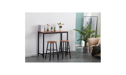 PVC Wood Table Counter Height 2 Bar Stools for Kitchen, Dining Room, Living Room