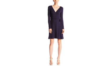 S.H.E. Long Sleeve Double V Wrap Dress