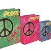 Cheungs Set of 3 Book Box with Wild Colors, Peace and Love Printed