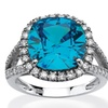 4.45 TCW Turquoise CZ Halo Cocktail Ring in Sterling Silver