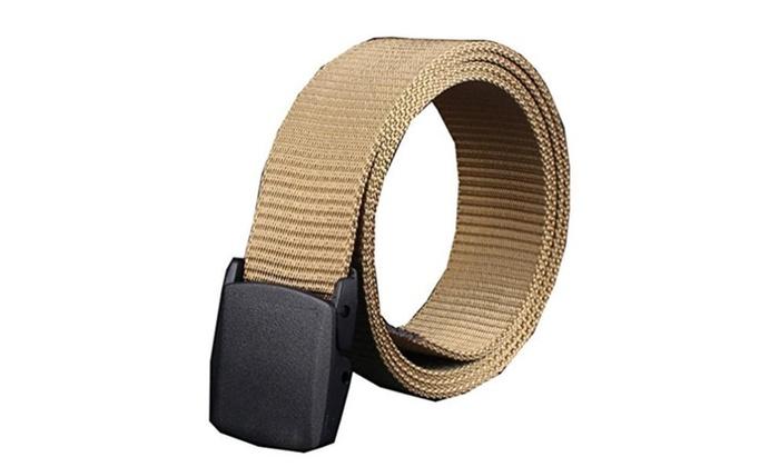 Men's Military Style Belt Nylon Belts No Metal Buckle Army Belts Webbing Belts (Camel) – Camel / One Size