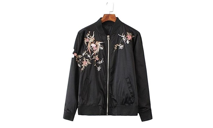 Women's Stand Collar Phoenix Vintage Embrodiery Bomber Jacket