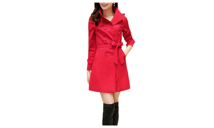 DPN Womens's Lapel Long Waist In The Double-Breasted Trench Coat
