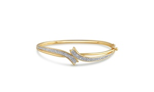14K Yellow Gold Plated Diamond Accent Bangle-KG17829CYSC